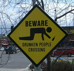 Drunken people crossing