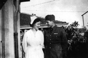 1918 Nurse Agnes von Kurowsky and American Red Cross volunteer Ernest Hemingway, Milan, Italy. Photograph in the Ernest Hemingway Photograph Collection, John F. Kennedy Presidential Library and Museum, Boston.