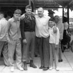 "Althought after divorce from Pauline, this is all 3 boys, 2 from marriage to Pauline Ernest Hemingway with sons (Patrick, John ""Bumby"", and Gregory ""Gigi""), at Club de Cazadores del Cerro, Cuba. Photograph in Ernest Hemingway Photograph Collection, John F. Kennedy Presidential Library and Museum, Boston."