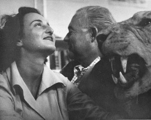 EH2841P nd. Ernest Hemingway and Adriana Ivancich with stuffed lion. Finca Vigia, San Francisco de Paula, Cuba. Copyright unknown in the Ernest Hemingway Collection at the John F. Kennedy Presidential Library and Museum, Boston.