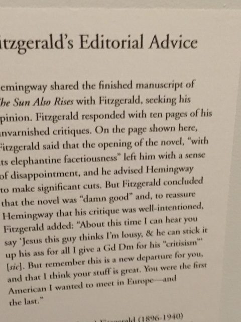 Fitzgerald's advice typed up so we can read it easily. Actual handwritten letter was in the display.
